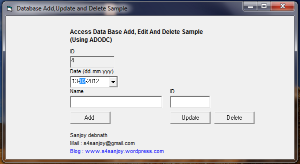 Save, Edit and Delete Example into Access Database Using VB6.0 ...